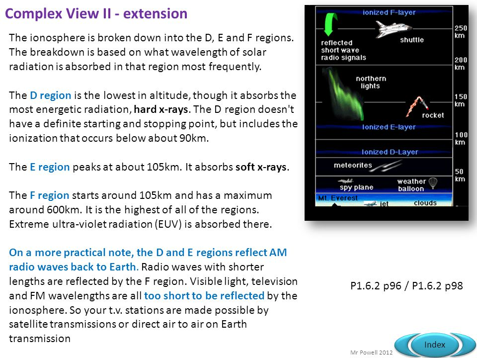 Mr Powell 2012 Index Complex View I - extension The ionosphere is the uppermost part of the atmosphere, distinguished because it is ionised by solar r