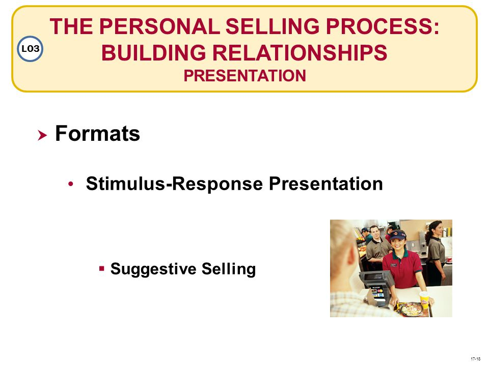 THE PERSONAL SELLING PROCESS: BUILDING RELATIONSHIPS PRESENTATION LO3 Formats Stimulus-Response Presentation Suggestive Selling 17-18