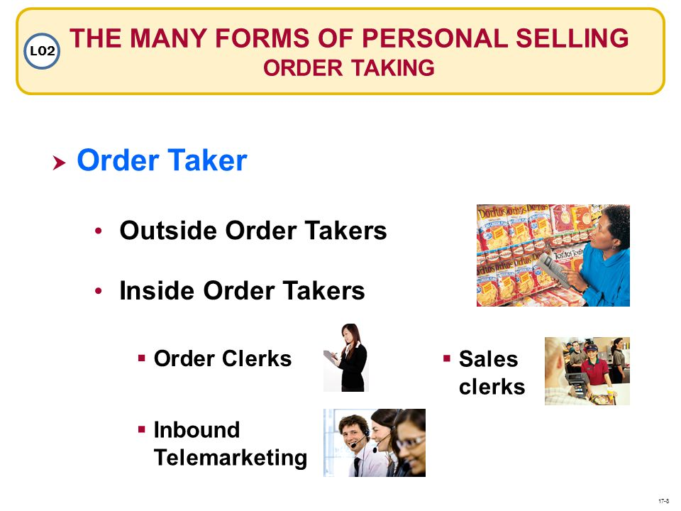 THE MANY FORMS OF PERSONAL SELLING ORDER TAKING LO2 Order Taker Outside Order Takers Inside Order Takers Order Clerks Sales clerks Inbound Telemarketi