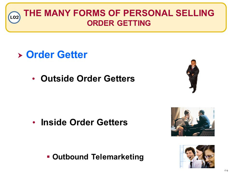 Outside Order Getters Inside Order Getters Outbound Telemarketing THE MANY FORMS OF PERSONAL SELLING ORDER GETTING LO2 Order Getter 17-9
