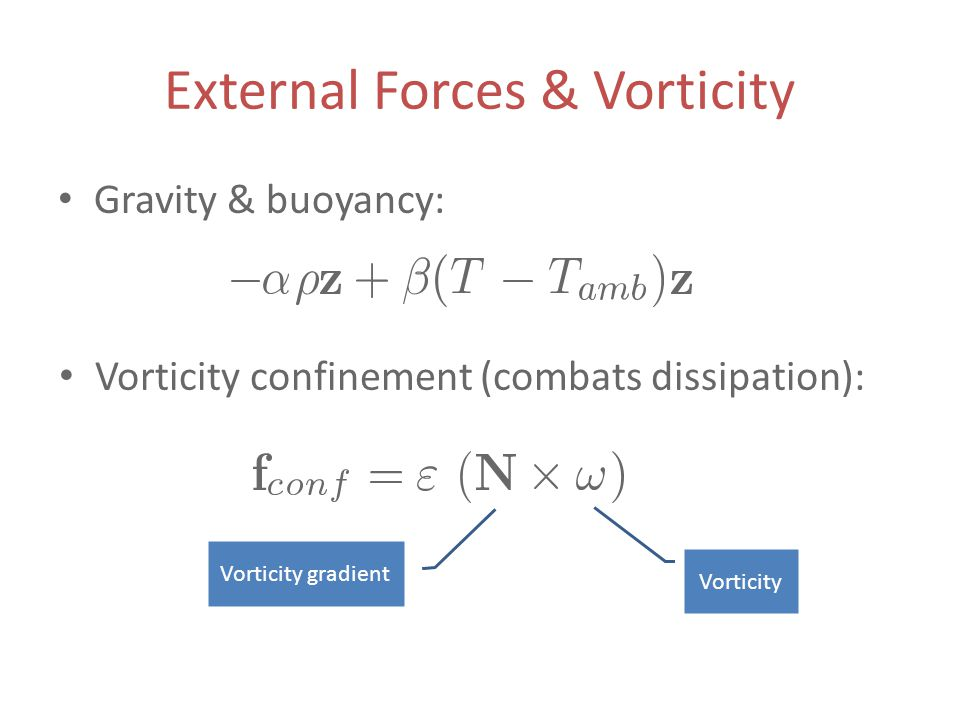 External Forces & Vorticity Gravity & buoyancy: Vorticity confinement (combats dissipation): Vorticity Vorticity gradient