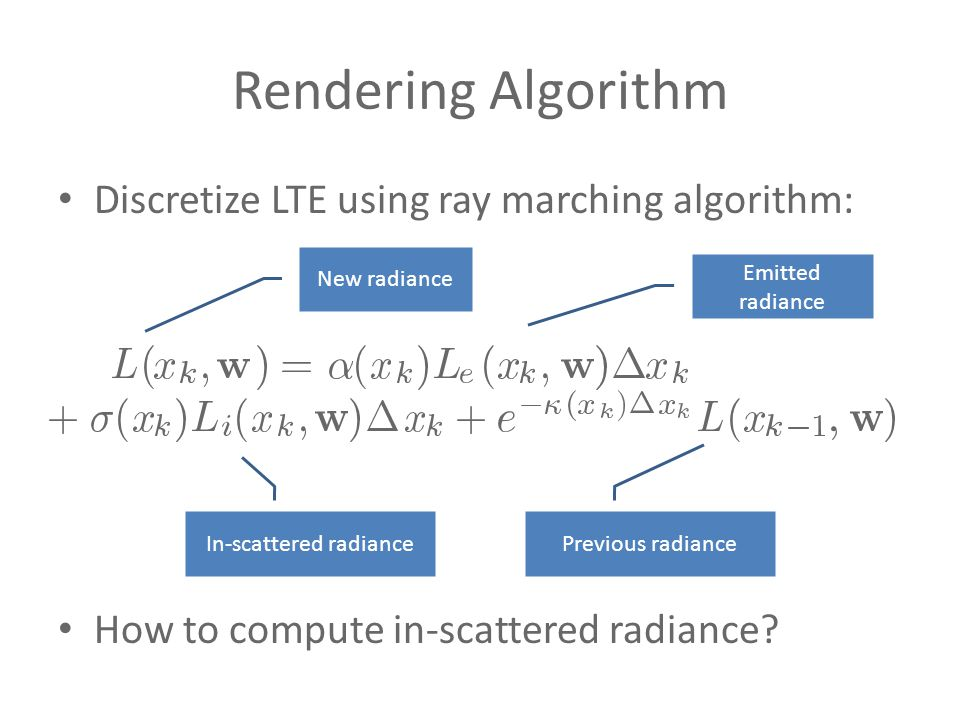 Rendering Algorithm Discretize LTE using ray marching algorithm: How to compute in-scattered radiance.