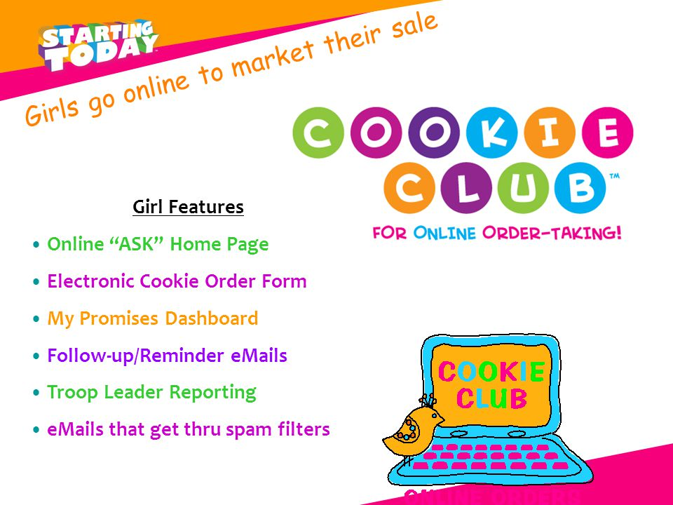 Girl Features Online ASK Home Page Electronic Cookie Order Form My Promises Dashboard Follow-up/Reminder eMails Troop Leader Reporting eMails that get thru spam filters Girls go online to market their sale