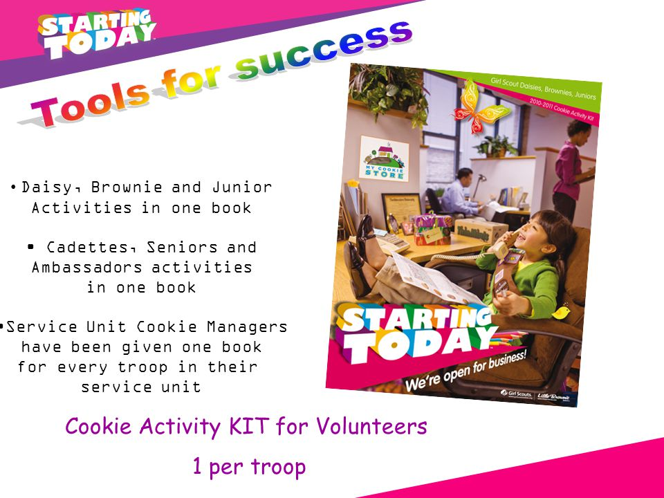 Cookie Activity KIT for Volunteers 1 per troop Daisy, Brownie and Junior Activities in one book Cadettes, Seniors and Ambassadors activities in one book Service Unit Cookie Managers have been given one book for every troop in their service unit