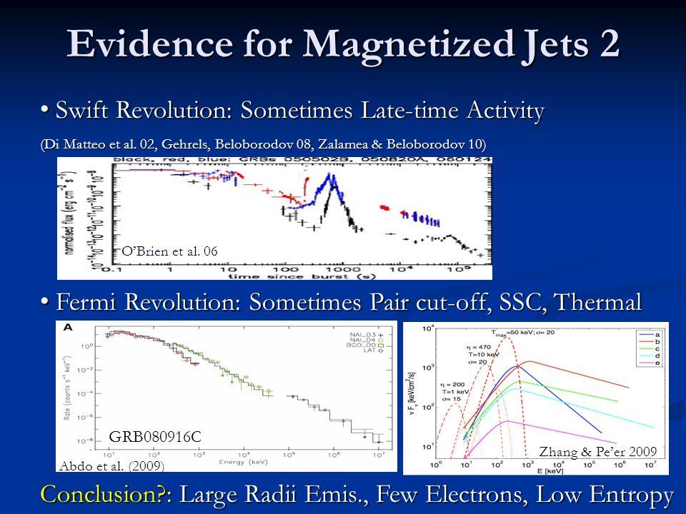 Evidence for Magnetized Jets 2 Swift Revolution: Sometimes Late-time Activity Swift Revolution: Sometimes Late-time Activity (Di Matteo et al.