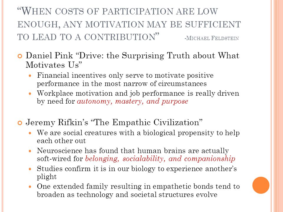 W HEN COSTS OF PARTICIPATION ARE LOW ENOUGH, ANY MOTIVATION MAY BE SUFFICIENT TO LEAD TO A CONTRIBUTION -M ICHAEL F ELDSTEIN Daniel Pink Drive: the Su