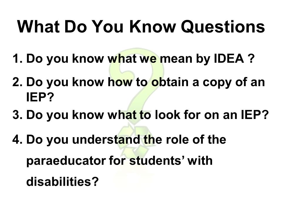 INDIVIDUALS WITH DISABILITIES EDUCATION ACT This is our nations Special Education Law.
