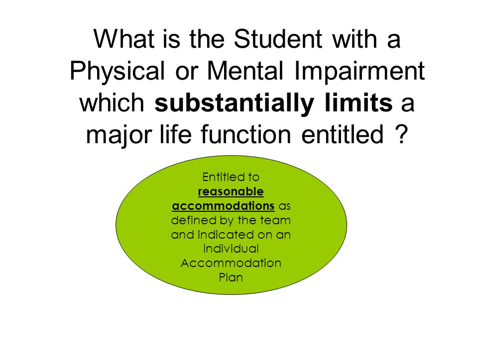 What is the Student with a Physical or Mental Impairment which substantially limits a major life function entitled ? Entitled to reasonable accommodat