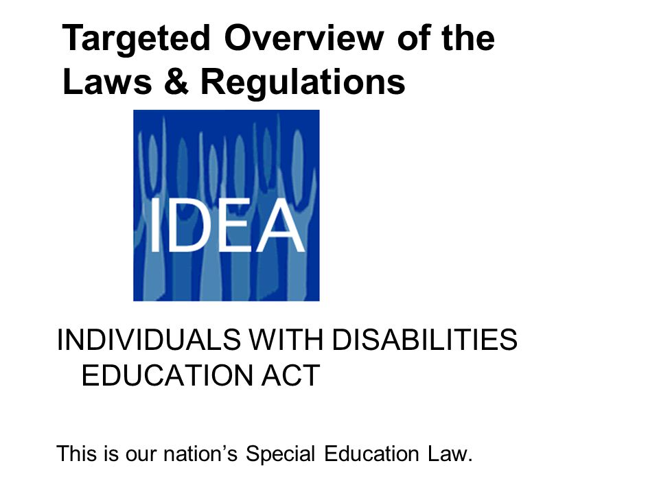 INDIVIDUALIZED EDUCATION PROGRAM Every public school child with disabilities receiving IDEA funded Special Education must have one.