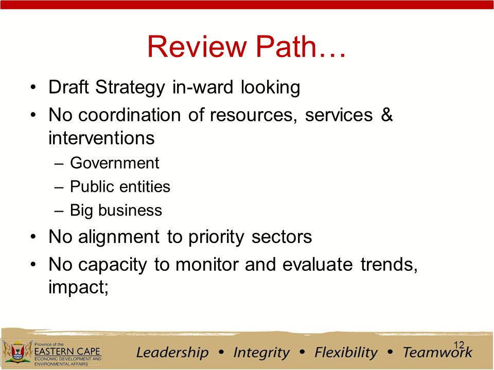 Review Path… Draft Strategy in-ward looking No coordination of resources, services & interventions –Government –Public entities –Big business No alignment to priority sectors No capacity to monitor and evaluate trends, impact; 12