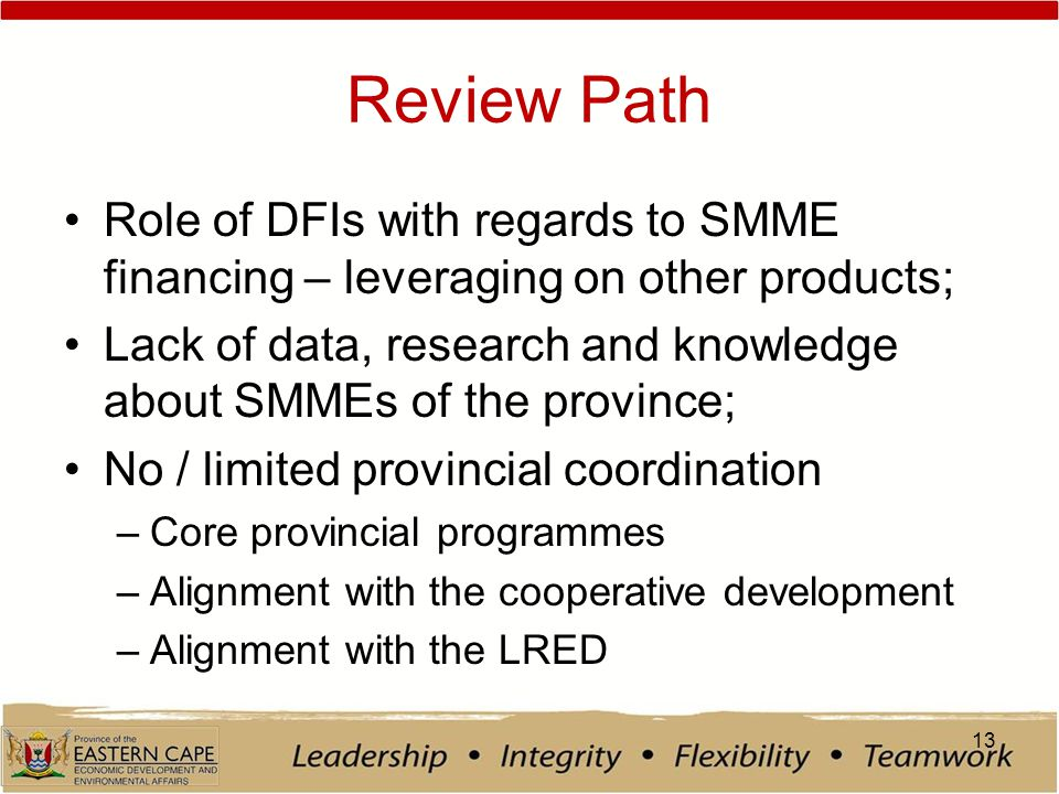 Review Path Role of DFIs with regards to SMME financing – leveraging on other products; Lack of data, research and knowledge about SMMEs of the province; No / limited provincial coordination –Core provincial programmes –Alignment with the cooperative development –Alignment with the LRED 13
