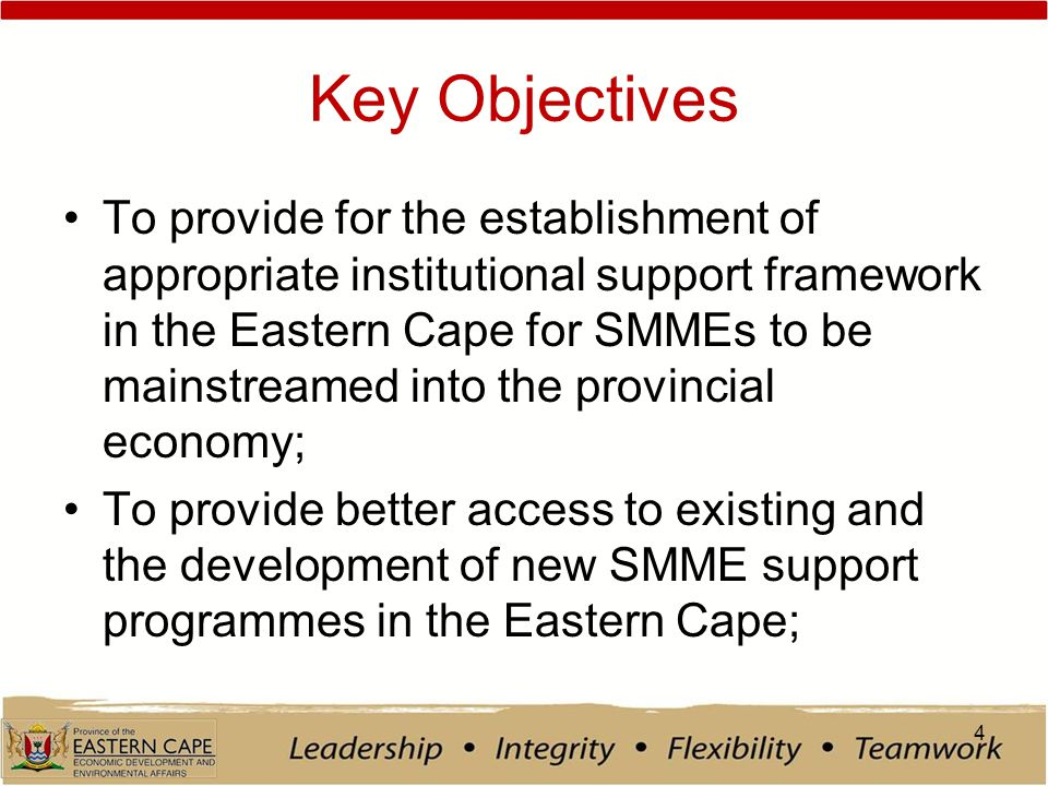 Key Objectives To provide for the establishment of appropriate institutional support framework in the Eastern Cape for SMMEs to be mainstreamed into the provincial economy; To provide better access to existing and the development of new SMME support programmes in the Eastern Cape; 4