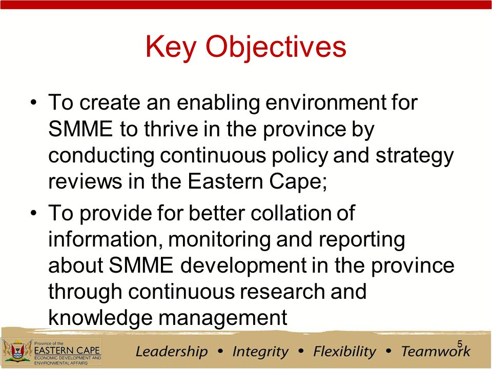 Key Objectives To create an enabling environment for SMME to thrive in the province by conducting continuous policy and strategy reviews in the Eastern Cape; To provide for better collation of information, monitoring and reporting about SMME development in the province through continuous research and knowledge management 5