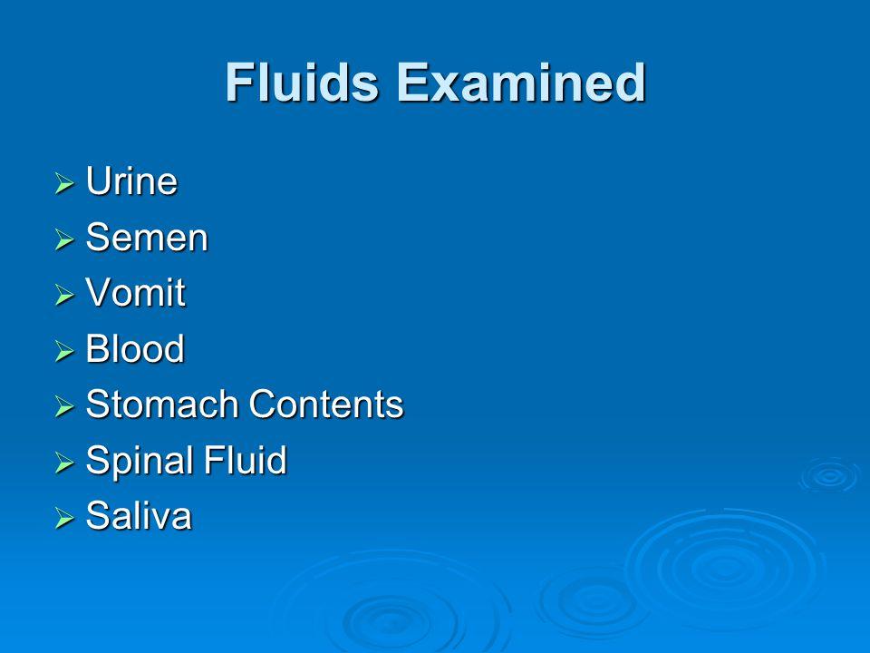 Fluids Examined Urine Urine Semen Semen Vomit Vomit Blood Blood Stomach Contents Stomach Contents Spinal Fluid Spinal Fluid Saliva Saliva