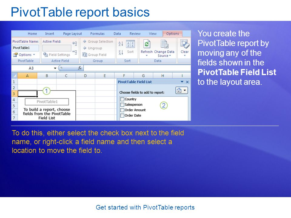 Get started with PivotTable reports PivotTable report basics You create the PivotTable report by moving any of the fields shown in the PivotTable Field List to the layout area.