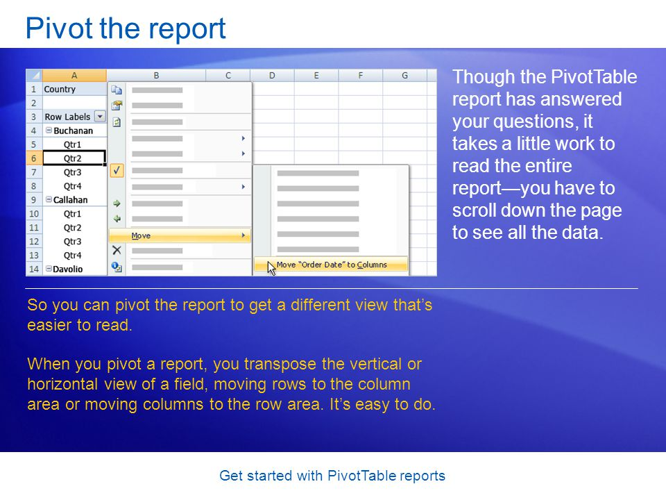 Get started with PivotTable reports Pivot the report Though the PivotTable report has answered your questions, it takes a little work to read the entire reportyou have to scroll down the page to see all the data.