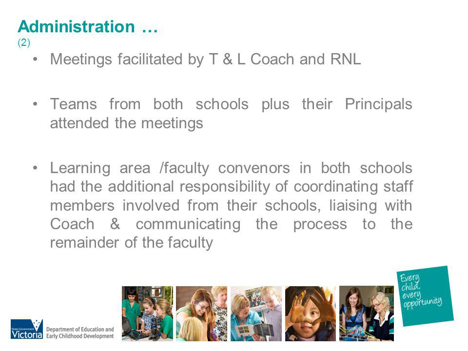 Administration … (2) Meetings facilitated by T & L Coach and RNL Teams from both schools plus their Principals attended the meetings Learning area /fa