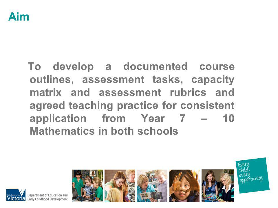 Aim To develop a documented course outlines, assessment tasks, capacity matrix and assessment rubrics and agreed teaching practice for consistent appl