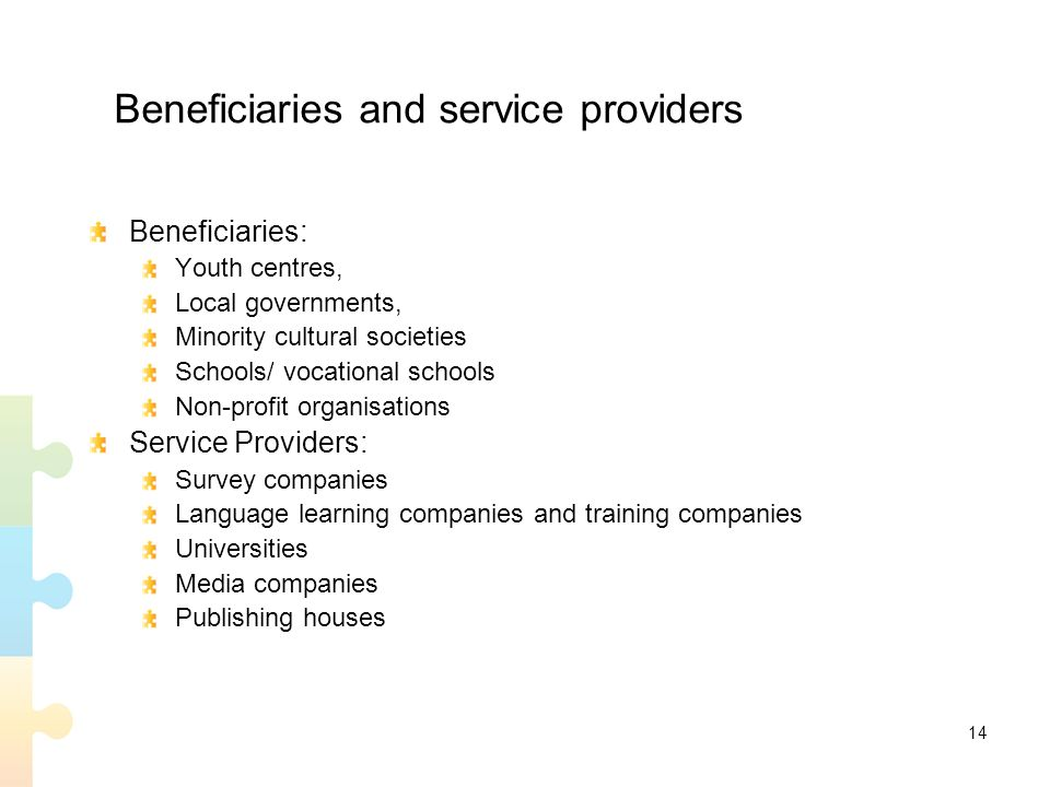14 Beneficiaries and service providers Beneficiaries: Youth centres, Local governments, Minority cultural societies Schools/ vocational schools Non-profit organisations Service Providers: Survey companies Language learning companies and training companies Universities Media companies Publishing houses