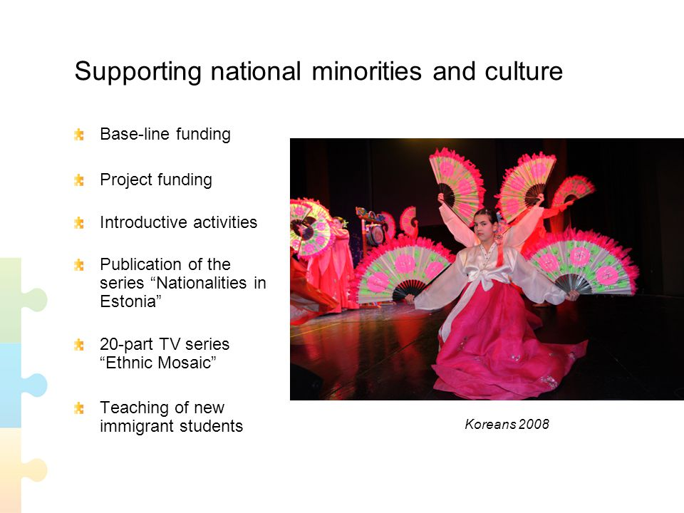 Supporting national minorities and culture Base-line funding Project funding Introductive activities Publication of the series Nationalities in Estonia 20-part TV series Ethnic Mosaic Teaching of new immigrant students Koreans 2008