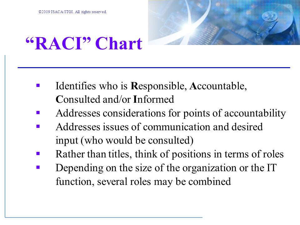 ©2009 ISACA/ITGI. All rights reserved. RACI Charts
