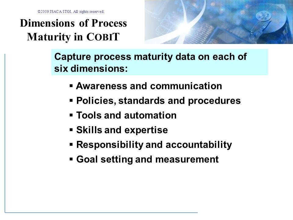 ©2009 ISACA/ITGI. All rights reserved. Maturity Levels in C OBI T 012345 Non-existent InitialRepeatableDefinedManagedOptimised 0 - Management processe