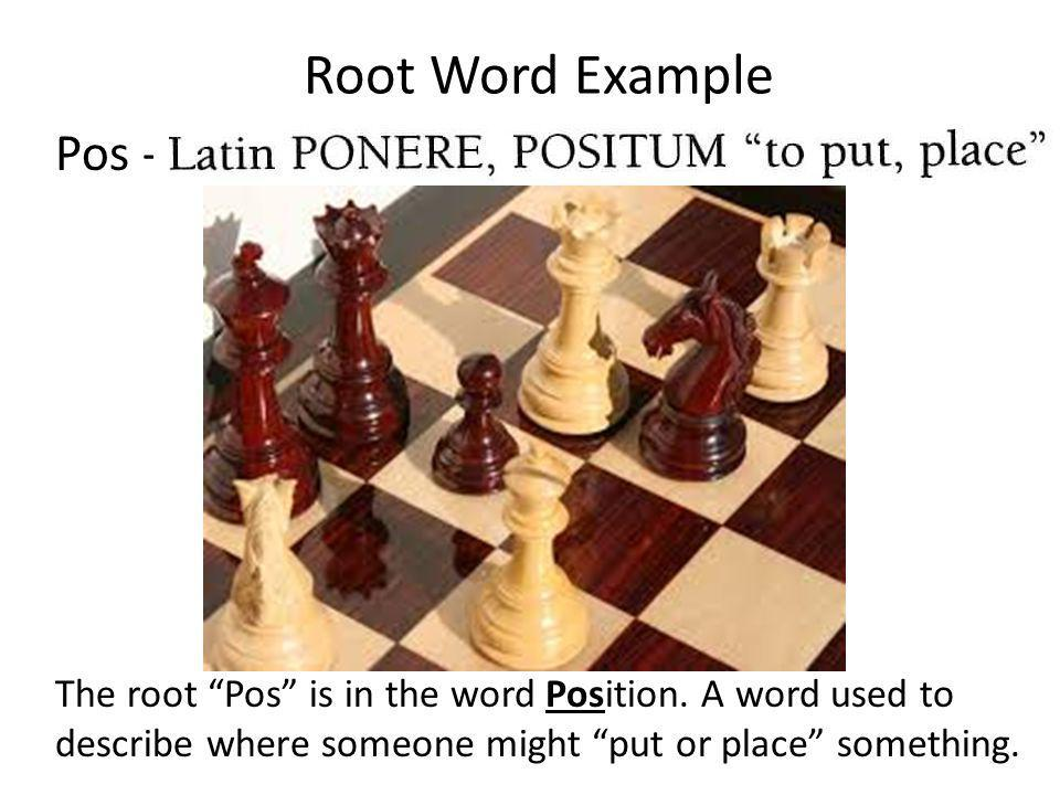 Root Word Example Pos - The root Pos is in the word Position. A word used to describe where someone might put or place something.
