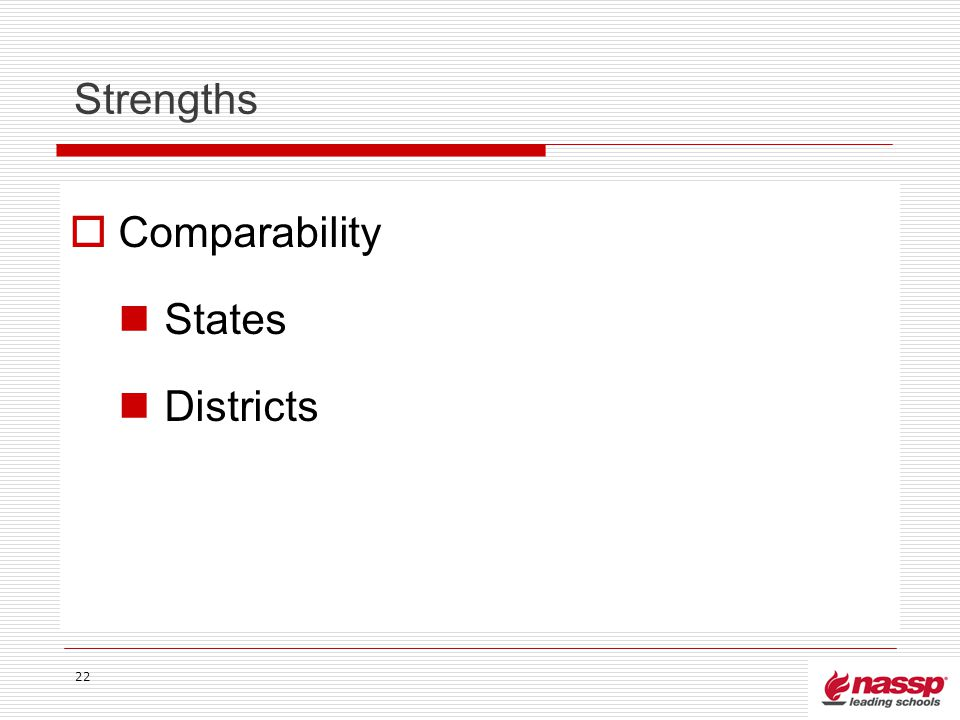 Strengths Comparability States Districts 22