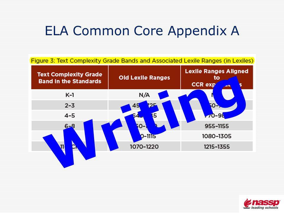 ELA Common Core Appendix A Writing