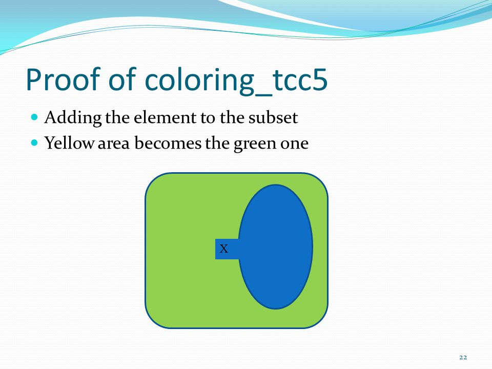 Proof of coloring_tcc5 Adding the element to the subset Yellow area becomes the green one X 22