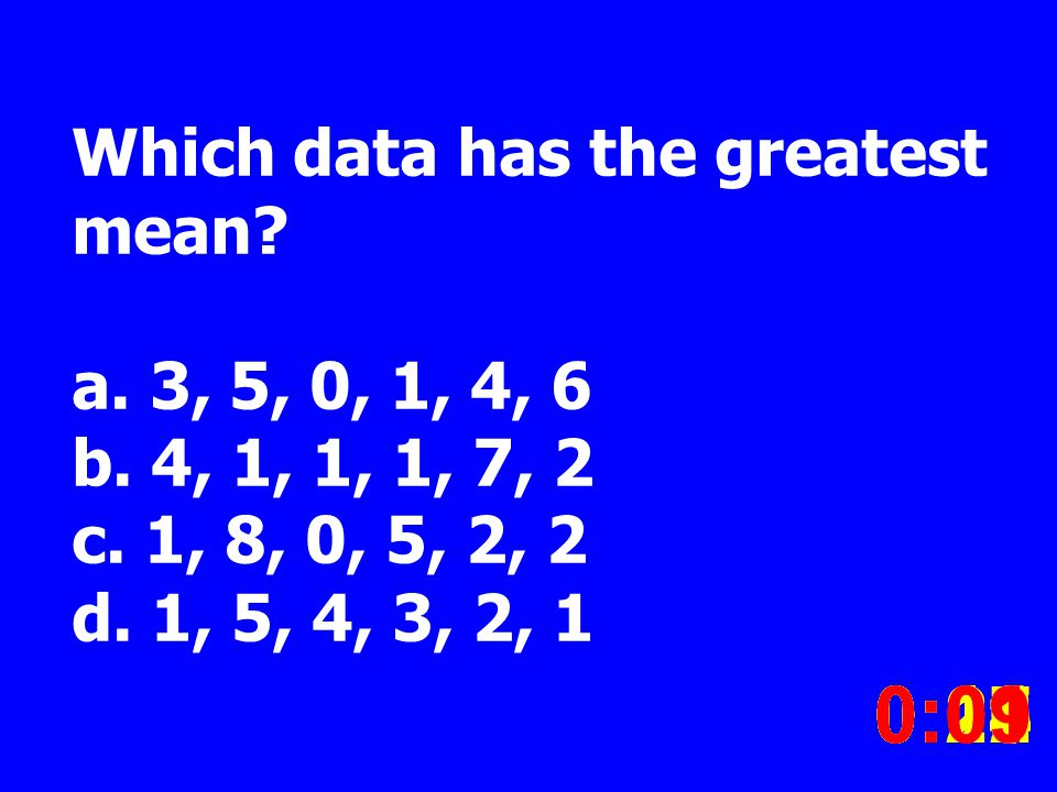 Which data has the greatest mean. a. 3, 5, 0, 1, 4, 6 b.
