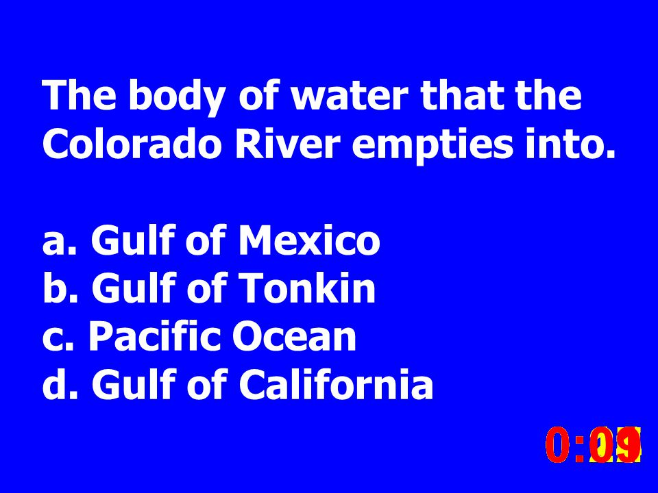 The body of water that the Colorado River empties into.