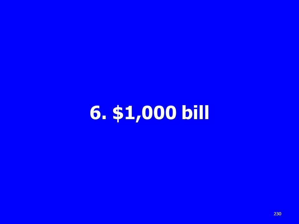 6. $1,000 bill 230