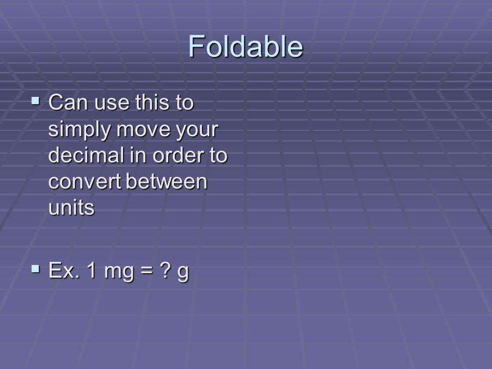Foldable Can use this to simply move your decimal in order to convert between units Can use this to simply move your decimal in order to convert betwe