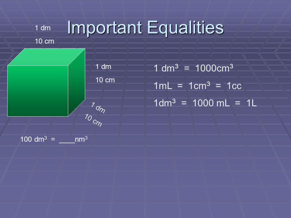 Important Equalities 1 dm 10 cm 1 dm 10 cm 1 dm 10 cm 1 dm 3 = 1000cm 3 1mL = 1cm 3 = 1cc 1dm 3 = 1000 mL = 1L 100 dm 3 = nm 3