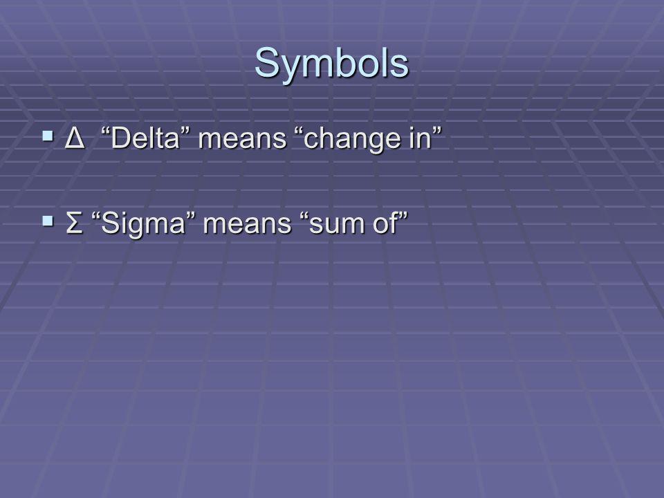 Symbols Δ Delta means change in Δ Delta means change in Σ Sigma means sum of Σ Sigma means sum of