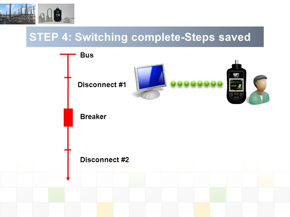 STEP 4: Switching complete-Steps saved Bus Disconnect #1 Disconnect #2 Breaker