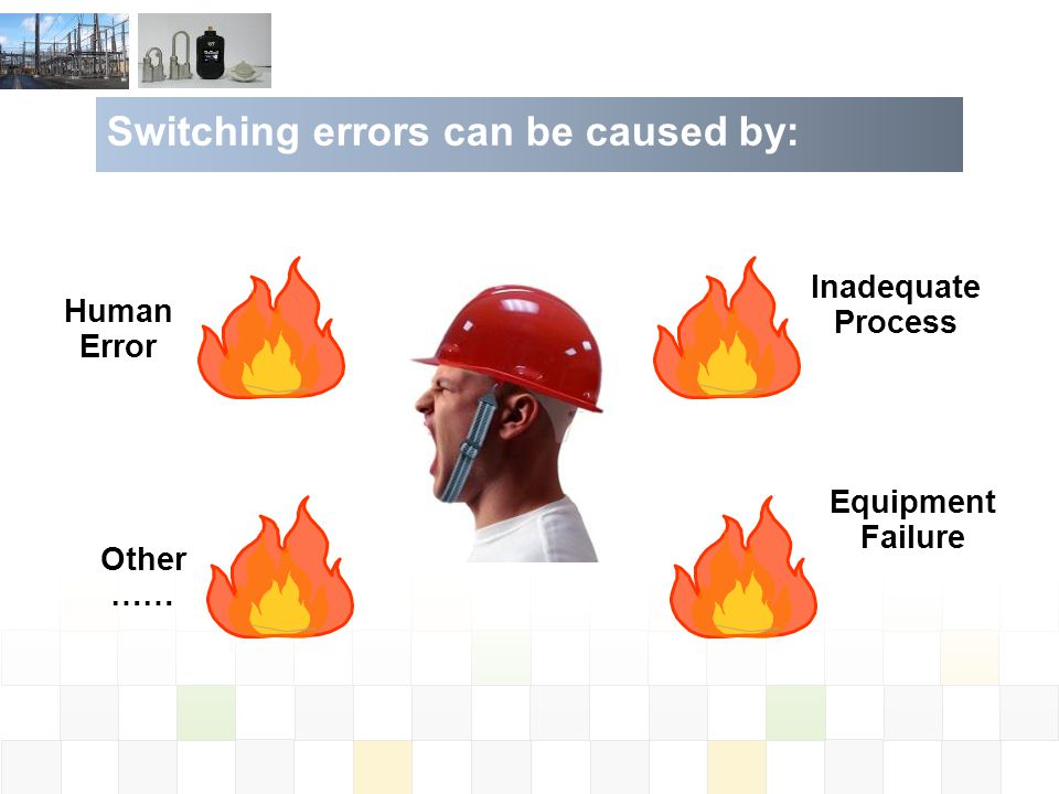 Human Error Other …… Equipment Failure Inadequate Process Switching errors can be caused by: