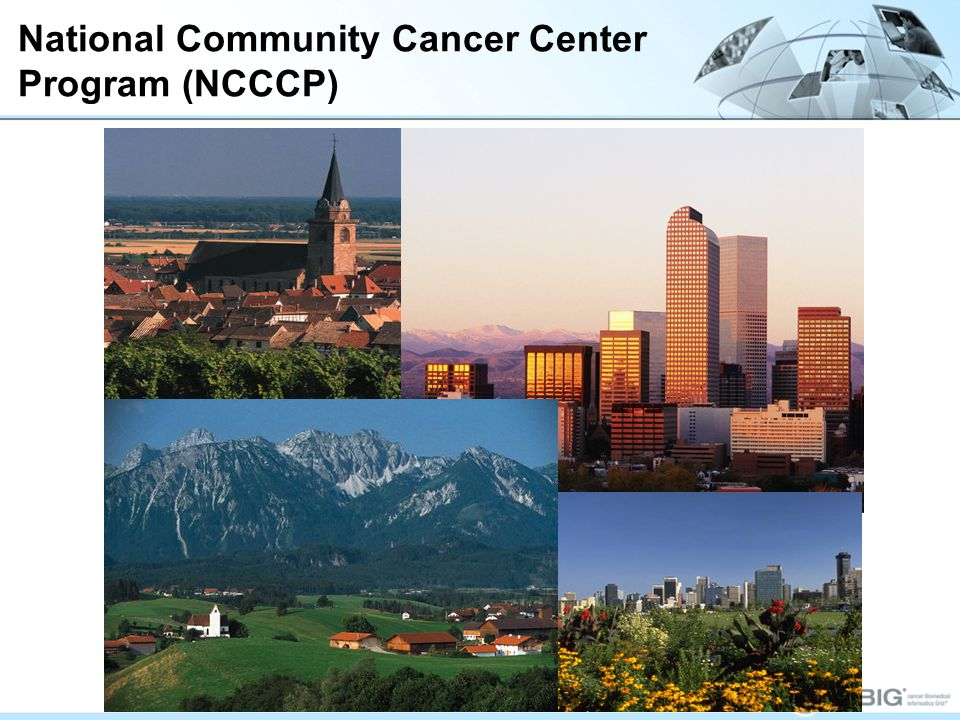 National Community Cancer Center Program (NCCCP) The NCI Community Cancer Centers Program (NCCCP) is designed to create a community-based cancer center network to support basic, clinical and population- based research initiatives, addressing the full cancer care continuumfrom prevention, screening, diagnosis, treatment, and survivorship through end-of- life care.