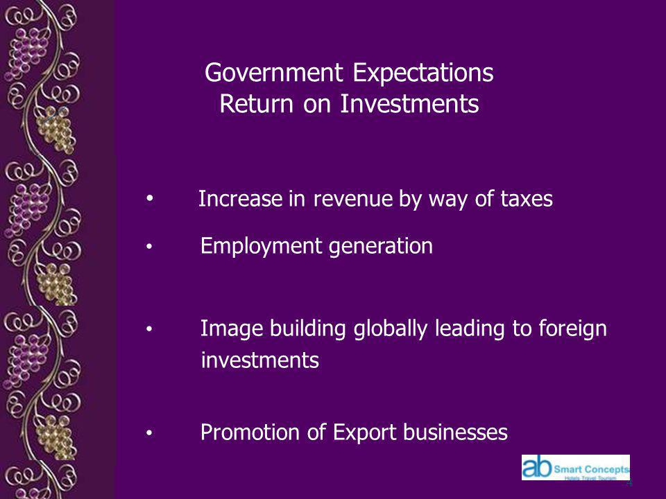 Government Expectations Return on Investments Increase in revenue by way of taxes Employment generation Image building globally leading to foreign investments Promotion of Export businesses 4