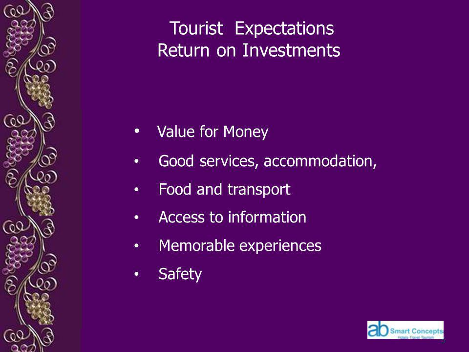 Tourist Expectations Return on Investments 5 Value for Money Good services, accommodation, Food and transport Access to information Memorable experiences Safety