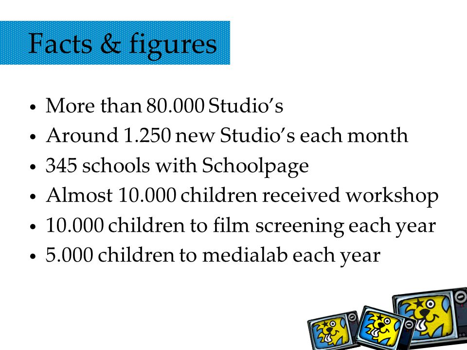 Facts & figures More than 80.000 Studios Around 1.250 new Studios each month 345 schools with Schoolpage Almost 10.000 children received workshop 10.000 children to film screening each year 5.000 children to medialab each year