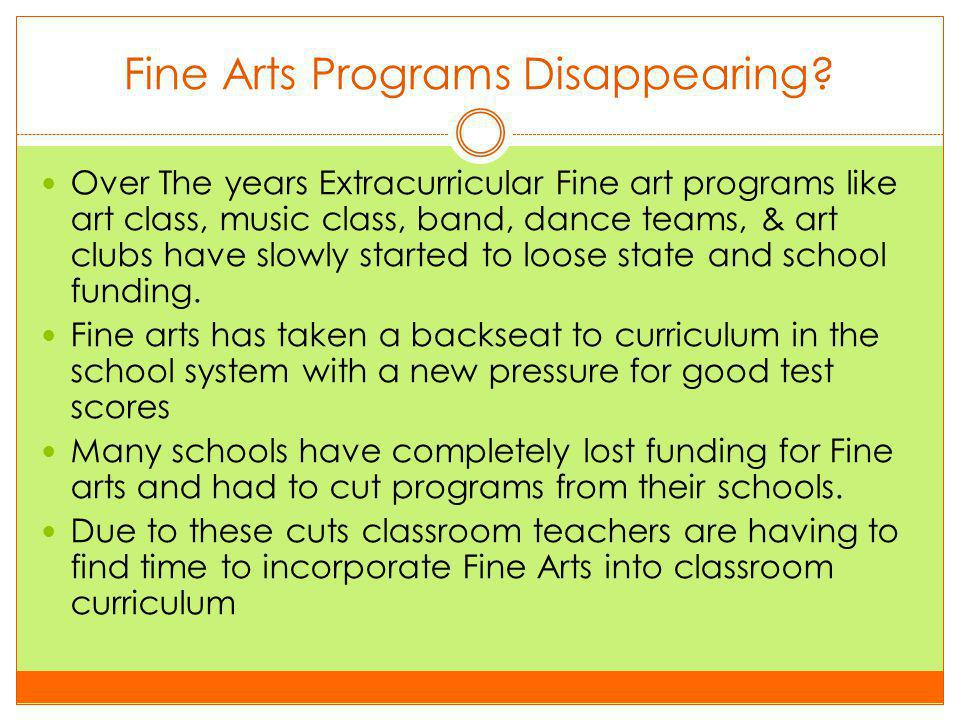 BY MISTY GOLLADAY Integrating Fine Arts into the Classroom Curriculum