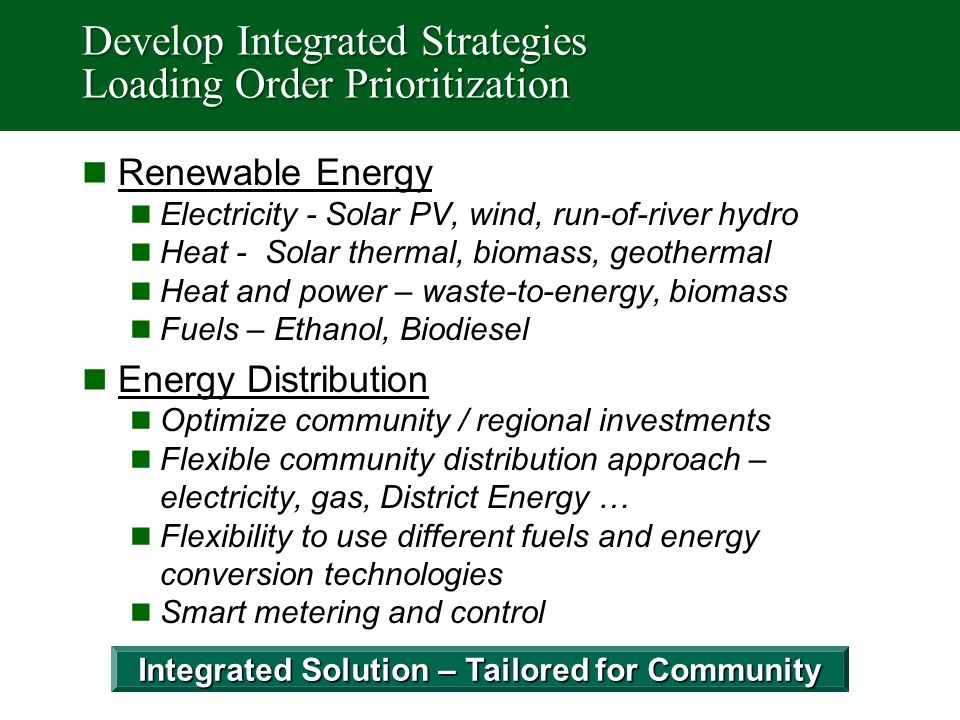 Develop Integrated Strategies Loading Order Prioritization Renewable Energy Electricity - Solar PV, wind, run-of-river hydro Heat - Solar thermal, bio