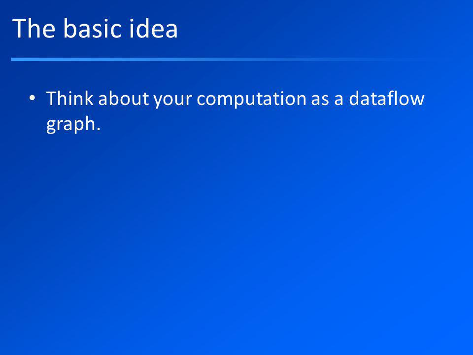 The basic idea Think about your computation as a dataflow graph.
