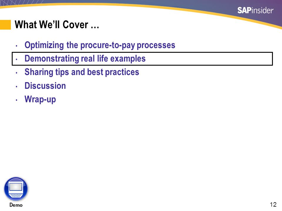 12 What Well Cover … Optimizing the procure-to-pay processes Demonstrating real life examples Sharing tips and best practices Discussion Wrap-up