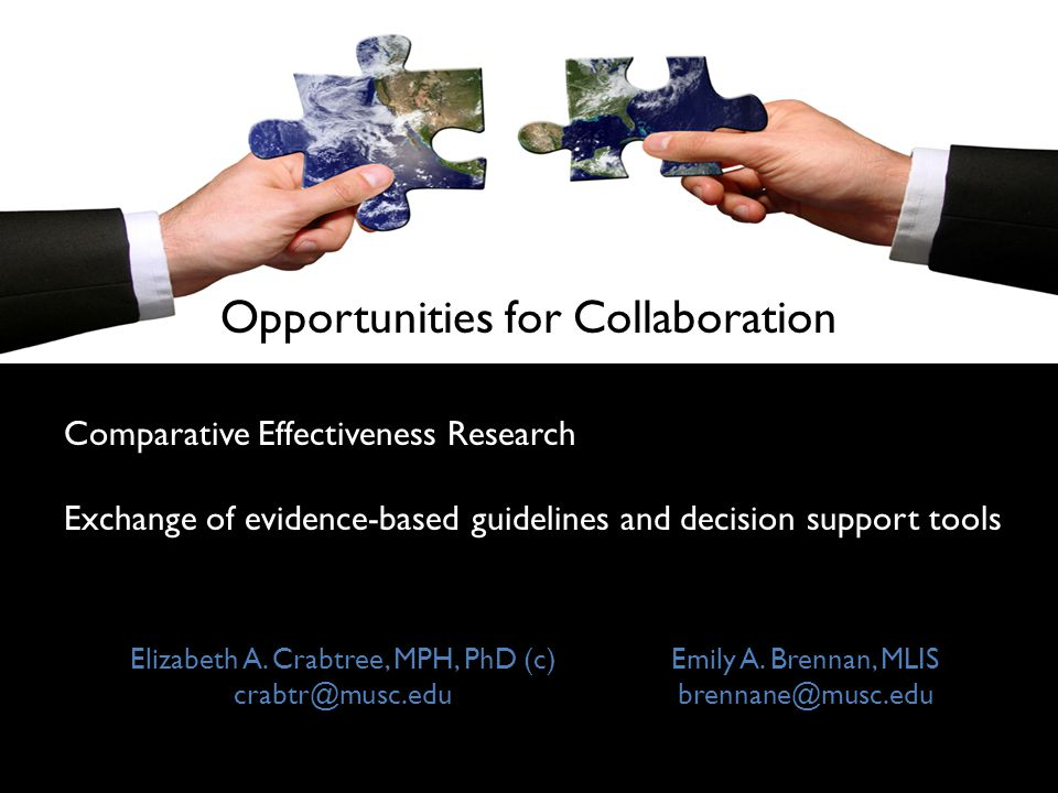 Opportunities for Collaboration Comparative Effectiveness Research Exchange of evidence-based guidelines and decision support tools Elizabeth A. Crabt
