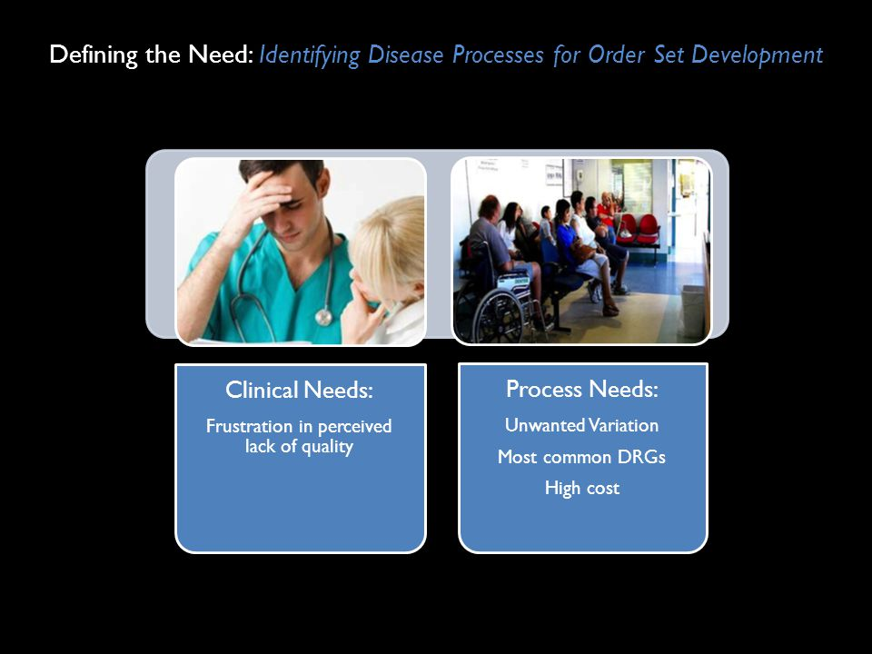 Defining the Need: Identifying Disease Processes for Order Set Development Clinical Needs: Frustration in perceived lack of quality Process Needs: Unw