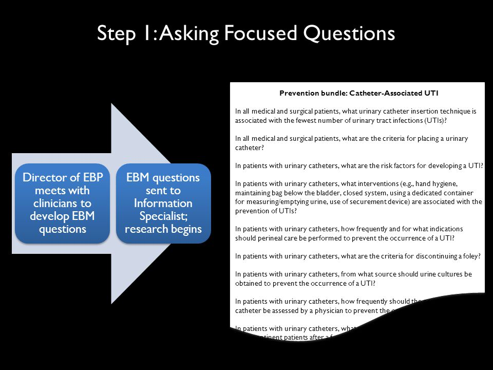 Step 1: Asking Focused Questions Prevention bundle: Catheter-Associated UTI In all medical and surgical patients, what urinary catheter insertion technique is associated with the fewest number of urinary tract infections (UTIs).