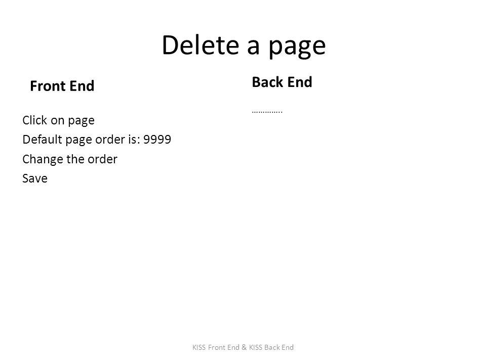 Delete a page Front End Click on page Default page order is: 9999 Change the order Save Back End …………..